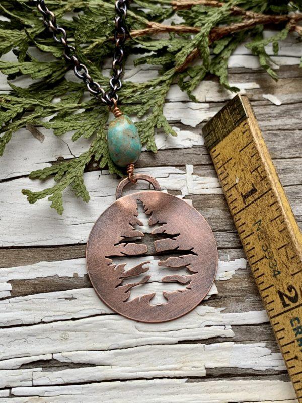 Copper Evergreen silhouette necklace