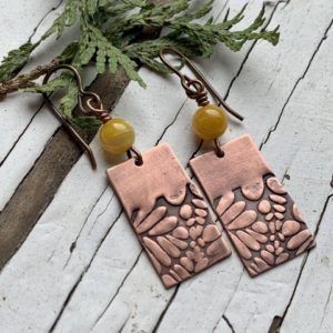 Spring flowers copper earrings
