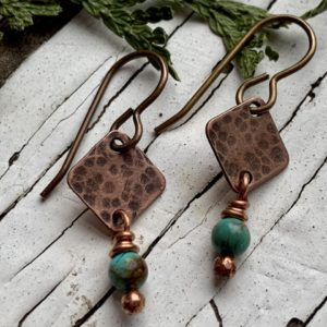 Tiny copper and turquoise earrings